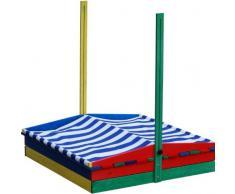 Sabbiera angolare 4 con 4 posti con tetto resistente agli agenti atmosferici – Sabbiera Sand scatola del gioco in scatola di legno sabbia