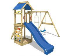 WICKEY parco giochi da giardino FreeFlyer con altalena, sabbiera + scivolo blu Torre da gioco