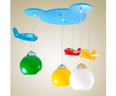 Ciondolo a forma di testa di orso in legno cameretta bambini lampade - Aereo lampada da soffitto per cameretta bambino camera da letto LED Lampadario