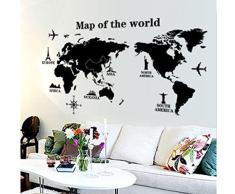 """Wall Sticker, DDLBiz® """"Viaggiare In Tutto Il Mondo"""" Mappa del Mondo Adesivi Murali, Camera da Letto Soggiorno Adesivi da Parete Removibili/Stickers Murali/Decorazione Murale"""