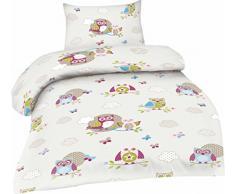 2 pezzi, biancheria da letto per bambini in cotone renforcé 100 x 135 cm + 40 x 60 cm 100 x 135 cm EULE-CRÈME