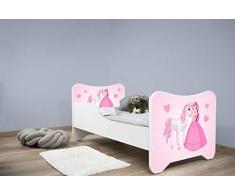 Letto singolo BAMBINO CAMERETTA LETTINO bambini con materasso !!! (PRINCIPESSA E CAVALLO)