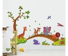 ufengke Cartone Animato Zoo Simpatici Animali Attraverso Ponte Uccello Che Vola Adesivi Murali, Camera dei Bambini Vivai Adesivi da Parete Removibili/Stickers Murali/Decorazione Murale