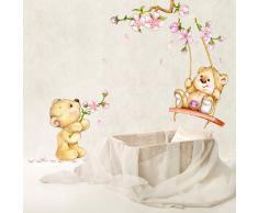 R00154 Adesivo murale per bambini Wall Art - Orsetti primavera - Misure 30x100 cm - Decorazione parete, adesivi per muro, carta da parati