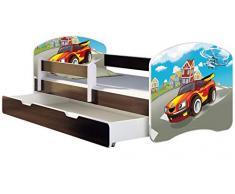 ACMA Letto per Bambino Cameretta per Bambino con Materasso Cassetto II WENGE (03 Macchina sportiva, 140x70 + Cassetto)