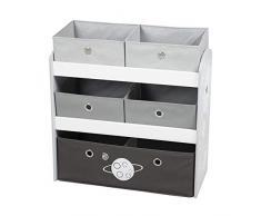 Roba – Scaffale per giocattoli Stars, con 5 scatole di stoffa per bambini, ripiano per la cameretta dei bambini, scaffale per giochi per ragazzi e ragazze