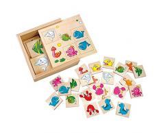 Mertens - Gioco Memory, animali acquatici, in scatola di legno