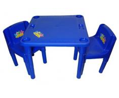 TSR - Tavolo per attività con 2 sedie da bambini, colore: blu