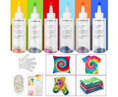 Sinwind Tie dye kit, 6 Coloranti Tessili Brillanti Tie-Dye, Non Tossico,tintura permanente, Kit di tinture per tessuto, coloranti per tessuti, Adatto per Fai da Te Tie-Dye Art per Bambini e Adulti
