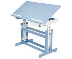 TecTake 400927 Scrivania per bambini regolabile in altezza blu