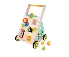 RB&G Girello Macchina per Imparare a Camminare Legno con Giochi di abilità motorie Learning car Motricità Gioco e Auto Eseguire Gioco di Apprendimento Walker Creatività Bambino Piccolo Baby Colori