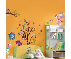 Walplus Art Decoration - Adesivi murali autoadesivi in carta per la camera dei bambini, motivi: animaletti felici con albero