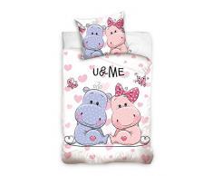 3d biancheria da letto piccolo nilpferde Cuori 100% cotone Biancheria da letto per bambini 135 x 200 cm (Oeko Tex Standard 100)