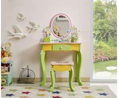 WODENY Set Tavolo da toeletta per Bambini | Toilette Cassettiera per Bambini e Sedia e Sgabello Set di Bellezza Accessori per Il Trucco di Moda Specchio con cassetto in Legno per Ragazze Rosa