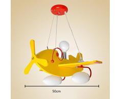 tkind LED Lampadario cartone animato aereo Occhi Proteggere lampada a sospensione in legno ferro lampade da soffitto personalità creativa lampadario elegante Lovely illuminazione decorativa per bambini principessa camera da letto