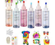 WELLXUNK® Tie Dye per Fai da Te, 6 Coloranti × 120ml/Bottiglia Tessili Brillanti Tie-Dye, Kit di Materiali per Tintura di Pigmenti Abbigliamento, Adatto per Fai da Te Tie-Dye Art per Bambini e Adulti