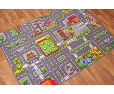 The Rug House Tappeto gioco per bambini con Strade della città, Poliammide, Grey, 95cm x 133cm (3'1 x 4'4)