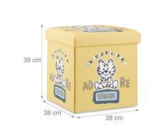 Relaxdays Sgabello pieghevole bambini, cesta porta-giochi, pouf contenitore, scatola con coperchio, HxLxP 38x38x38 cm, tigre