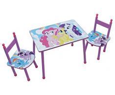 Fun House 712524 My Little Pony Set Tavolo con due sedie per bambini in MDF Rosa 60 x 40 x 44 cm