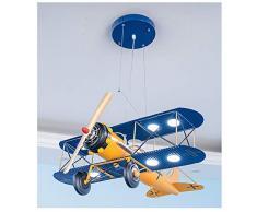 LED Lampada a Sospensione per Bambini 40W Aereo Blu Giallo Modern Lampada a Sospensione Kids Design Creativo Regolabile in Altezza per Stanza dei Bambini Camera da Letto