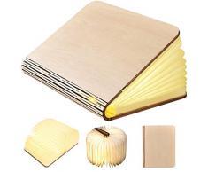 Geediar Libro Lampada Luce LED di Legno Pieghevole Luci Booklight Decorative Lampada da Tavolo con 2500 MAh Batteria Litio Lampada da Comodino Luce Notturna Luci Decorative Lampade, Bianco Caldo