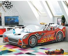 Lettino singolo a forma di macchina Cars 160x80, letto per bambini e ragazzi, MATERASSINO GRATIS (Rosso)