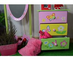 Bambini cassettiera fata a tema Storage box Kids Girls in legno fantasia