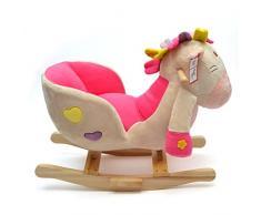 Pink Papaya Animale Emily, cavallo a dondolo per bambini e bebé con schienale e bracciolo
