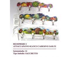 Set 3 appendino 4 ganci attaccapanni appendiabiti strofinacci o cameretta bimbo con adesivo; lunghezza cm 25