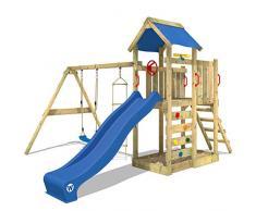 WICKEY Parco giochi in legno MultiFlyer Giochi da giardino con altalena e scivolo blu, Torre darrampicata da esterno con sabbiera e scala di risalita per bambini