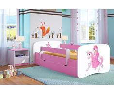 Wonderhome Kids Solido Letto Singolo con Materasso e Cassetto Estraibile Inclusi | Lettino per Bambini Rosa | (180x80, 7. Principessa su Un Cavallo)