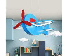 Lampada a Sospensione a LED Dimmerabile Blu, Lampadario per cameretta dei bambini a forma di aereo, lampadario da soffitto Grande Regalo per Bambino Amico, Telecomando, L42 cm 36W