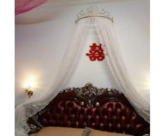 Letto a baldacchino principessa,Ferro battuto europeo copriletto mosquito net tendaggi tenda decorativa corona reticolato tende-F