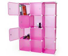 TecTake armadio scarpiera mobiletto da bagno armadio da cameretta sistema di plug-in cuba rosa
