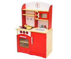 TecTake CUCINA PER BAMBINI GIOCO GIOCATTOLO IN LEGNO - disponibile in diversi colori - (Rosso)