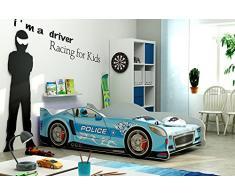 Lettino singolo a forma di macchina Cars 160x80, letto per bambini e ragazzi, MATERASSINO GRATIS (Blu)