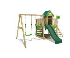 FATMOOSE Parco giochi in legno JazzyJungle Giochi da giardino con altalena e scivolo verde, Casetta da gioco per larrampicata con sabbiera e scala di risalita per bambini