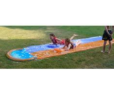 Garden Games Scivolo Acquatico Doppio de 4.7 Metri con Due Tavole da Bodyboard Gonfiabili e Spruzzatore