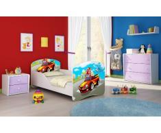 Letto per bambino Cameretta per bambino con materasso Cassetto ACMA I (03 Macchina sportiva, 140x70)