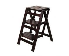 TTWUJIN Scaletta portatile pieghevole Sgabello a gradini Scaletta a 3 gradini Seggiolone per scale Scaffale a scaletta Scala a libro in legno di pino Salita a doppio uso Allargata Scarpa di sicurezza