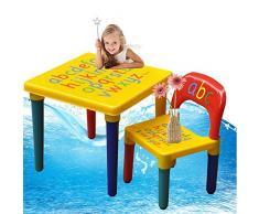 Set di sedie e tavolo per bambini,Alfabeto ABC,Imparare l'illustrazione delle lettere,in plastica