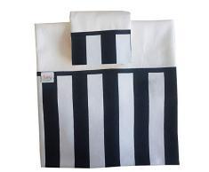 Zigozago - Set per culla o lettino con bordo a righe bianco nere in 3 pezzi in piquet di cotone