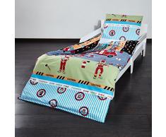 Lumaland premium biancheria da letto per bambini copripiumino 80 x 80 cm e federa 35 x 40 Pompieri