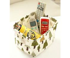 Westeng Cesto Contenitore in Tessuto Spesso di cotone, organizer a cubo da scrivania per cosmetici, giocattoli, piccoli oggetti, con motivo a cartone animato, Cotone lino (beige)