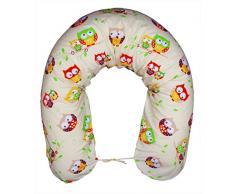 federa XXL per cuscino per allattamento, ideale per chi dorme sul fianco, lunghezza: 170 cm – motivo: gufo, colore écru E01