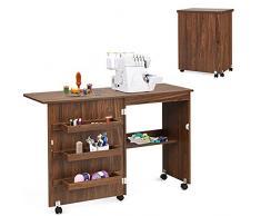 RELAX4LIFE Tavolo da Cucito Pieghevole su Ruote, Mobile Macchina da Cucire in legno, Scrivania Rimovibile multiuso, Ideale per soggiorno, Camera da Letto e Studio (marrone sicuro)