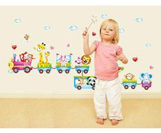 ufengke® Treno del Fumetto con Simpatici Animali Adesivi Murali, Camera dei Bambini Vivai Adesivi da Parete Removibili/Stickers Murali/Decorazione Murale