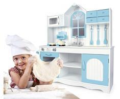 Leomark Cucina Exclusive Royal Azzurro Giocattolo Per Bambini Gioco in Legno Giocare D'imitazione Accessori Per Cucina Educazione Tavola Fornello Divertimento Baby Toys