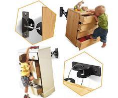 SYOSIN - Set di 6 cinghie per mobili per bambini, antiribaltamento per scaffali, comò e armadi, sicurezza per bambini