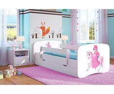 Bjird Letto per Bambini Singolo Bianco 140x70 160x80 180x80 con sponda anticaduta con barriera cassettone Estraibile - Principessa sul Cavallino - 70 x 140 cm